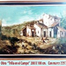 Arte: IGLESIAS SANZ,ANTONIO (MADRID1935-2013).OLEO S/ LIENZO - LA TRILLA EN EL CAMPO - MED.:200 X 100 CM.. Lote 230264630