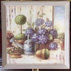 Arte: PINTURA SOBRE TABLA DE JARDIN DE HOGAR. Lote 230364270