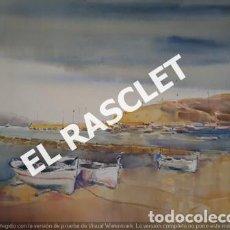 Arte: PINTURA ACUARELA - GRANDE - LLANÇA - JOSEP MARFA GUARRO - DE - BCN - 1978 -. Lote 230580775