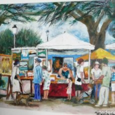 Arte: ÓLEO DE RAMON AGUILAR MORE, 30X40, MERCADO DE CUADROS EN CADAQUES, ENMARCADO 50X60. Lote 230596580