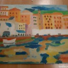 Art: CUADRO SIN MARCO PAISAJISTA ABSTRACTO DE OLEO SOBRE LIENZO EN PANEL CON FIRMA. VER DESCRIPCIÓN. Lote 230644390