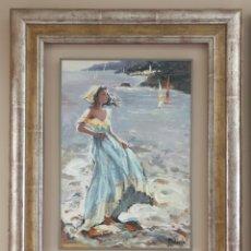 Arte: JOSEFINA CODERCH (OLOT, 1934) - JOVEN EN LA ORILLA DEL MAR.OLEO/TABLA.FIRMADO.. Lote 206439988