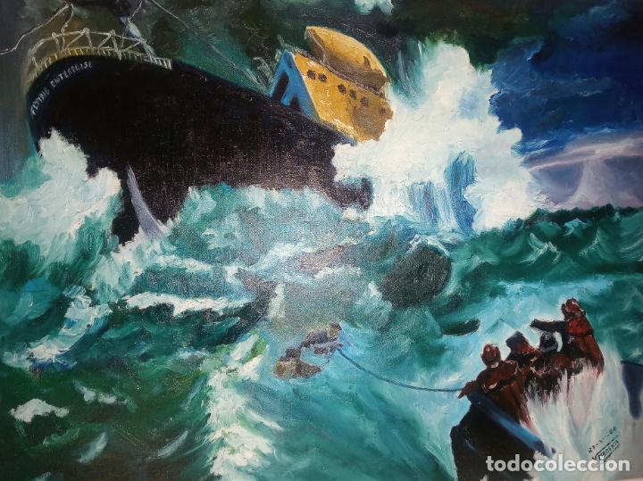 Arte: Gran oleo sobre tablex. Naufragio del SS Flying Enterprise en el océano Atlántico. Firmado. 1966. - Foto 2 - 230692115