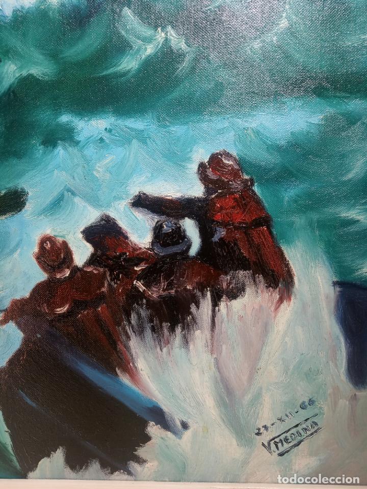 Arte: Gran oleo sobre tablex. Naufragio del SS Flying Enterprise en el océano Atlántico. Firmado. 1966. - Foto 3 - 230692115