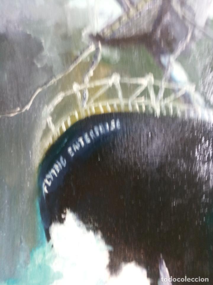 Arte: Gran oleo sobre tablex. Naufragio del SS Flying Enterprise en el océano Atlántico. Firmado. 1966. - Foto 4 - 230692115