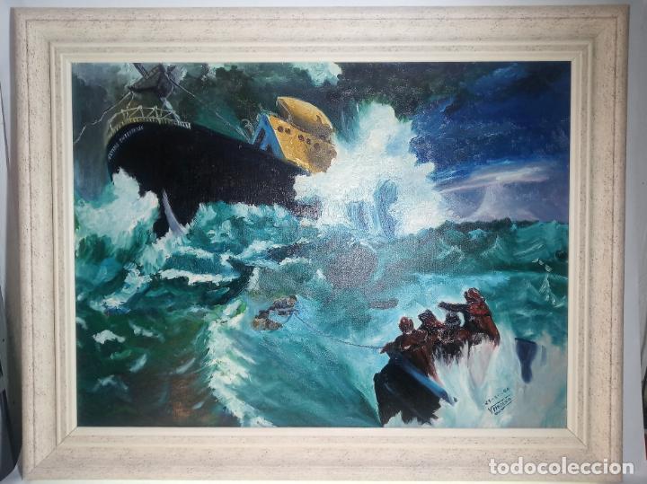 GRAN OLEO SOBRE TABLEX. NAUFRAGIO DEL SS FLYING ENTERPRISE EN EL OCÉANO ATLÁNTICO. FIRMADO. 1966. (Arte - Pintura - Pintura al Óleo Contemporánea )