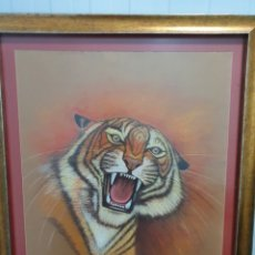 Arte: CUADRO AL PASTEL TIGRE. Lote 230730195