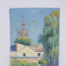 Arte: FELIPE GIL GALLANGO (1868-1938) PINTOR ESPAÑOL LA GIRALDA PINTURA SOBRE CARTON SEVILLA. Lote 230751465