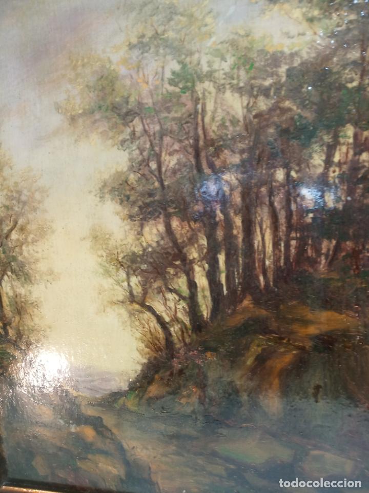 Arte: Paisaje campestre al oleo sobre tablex. Barnizado en brillo. Marco antiguo. - Foto 2 - 230753315