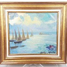 Arte: OLEO DE MARINA CON BARCOS DE PINTOR ANTONI ROS Y GÜELL (1877-1954).. Lote 230842990