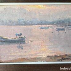 Arte: FRANCESC TORNERO (BARCELONA 1938) ÓLEO SOBRE TABLA ENMARCADO MARINA PUESTA DE SOL. Lote 230857810