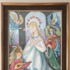 Arte: VIRGEN NIÑA CON ÁNGELES MÚSICOS - FIRMADO MR.MORÉ.GRAN FORMATO.. Lote 191259000