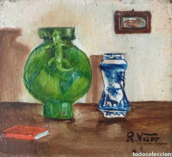 Arte: Roser Vilar Aymerich (Tarragona, 1925 - Figueras,2011) - Bodegón Miniatura.Oleo/tabla.Firmado.1943. - Foto 2 - 203947397