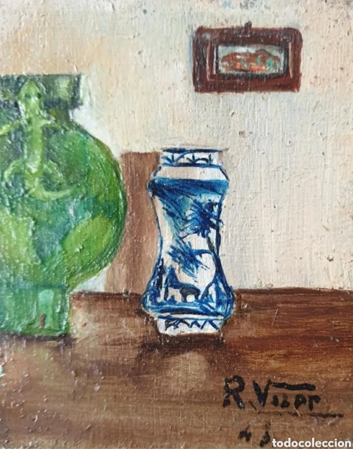 Arte: Roser Vilar Aymerich (Tarragona, 1925 - Figueras,2011) - Bodegón Miniatura.Oleo/tabla.Firmado.1943. - Foto 4 - 203947397