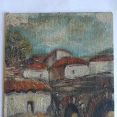 Arte: ANONIMO - PUEBLO -OLEO S/ LIENZO ADHERIDO A CARTON MED. 27 X 22 CMS.. Lote 231054340