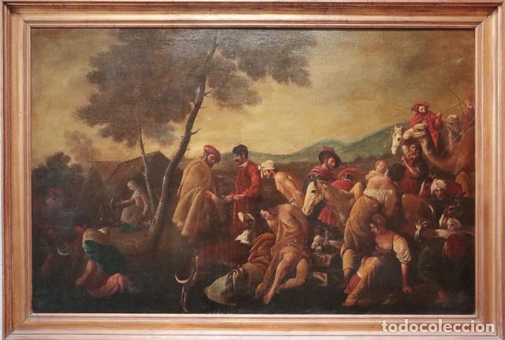 Arte: El mercado de la esclavitud. Escuela flamneca. Siglo XVII. Óleo/Lienzo. Med: 154 x 99 cm. - Foto 2 - 193284005