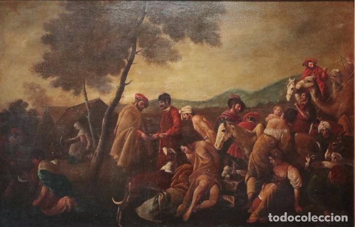 EL MERCADO DE LA ESCLAVITUD. ESCUELA FLAMNECA. SIGLO XVII. ÓLEO/LIENZO. MED: 154 X 99 CM. (Arte - Pintura - Pintura al Óleo Antigua siglo XVII)
