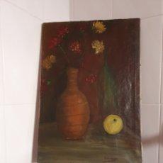 Arte: ANTIGUO BODEGON DE FLORES PINTADO AL OLEO SOBRE LIENZO ESTA FIRMADO. Lote 231184485