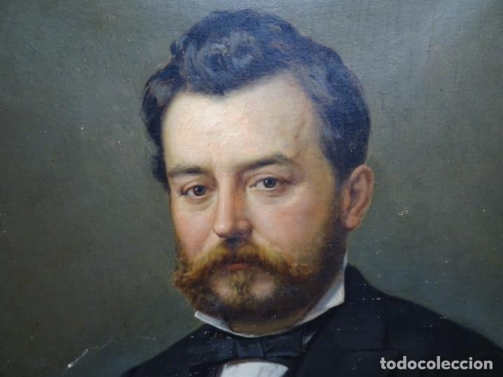Arte: ÓLEO TELA DE JOSEP TEXIDOR I BUSQUET(BCN 1829-1892).RETRATO PADRE DEL PINTOR JOAQUIN VANCELLS 1872 - Foto 2 - 231413500