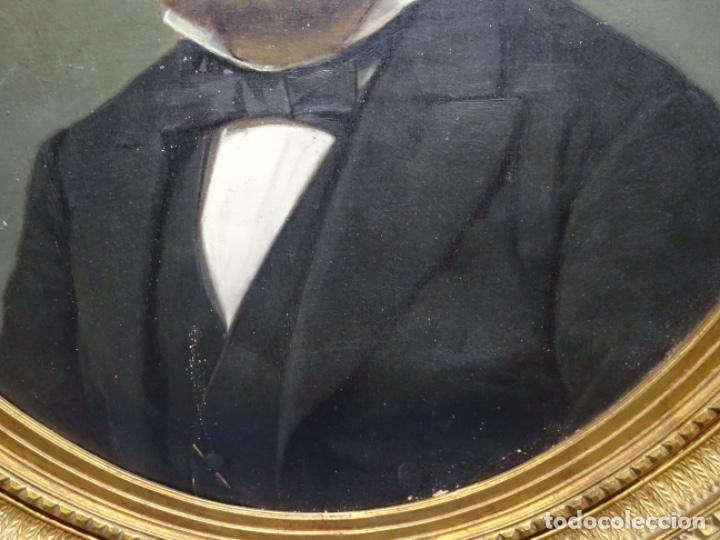 Arte: ÓLEO TELA DE JOSEP TEXIDOR I BUSQUET(BCN 1829-1892).RETRATO PADRE DEL PINTOR JOAQUIN VANCELLS 1872 - Foto 3 - 231413500
