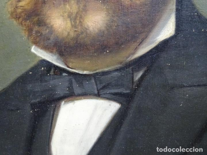 Arte: ÓLEO TELA DE JOSEP TEXIDOR I BUSQUET(BCN 1829-1892).RETRATO PADRE DEL PINTOR JOAQUIN VANCELLS 1872 - Foto 6 - 231413500