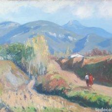 Arte: MIQUEL BOSCH PLA (OLOT, 1918-1993) - PAISAJE CON MASIA I FIGURAS.OLEO/TABLA.FIRMADO.1955.. Lote 231402815