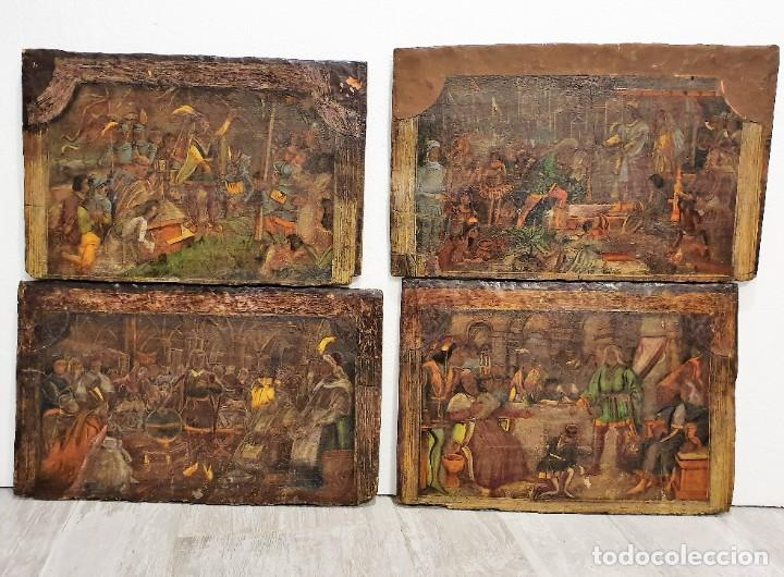 ANTIGUOS OLEOS SOBRE TABLA SOBRE LA CONQUISTA DE AMERICA (Arte - Pintura - Pintura al Óleo Antigua sin fecha definida)