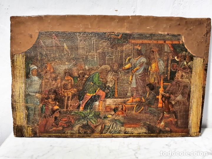 Arte: ANTIGUOS OLEOS SOBRE TABLA SOBRE LA CONQUISTA DE AMERICA - Foto 2 - 231576195