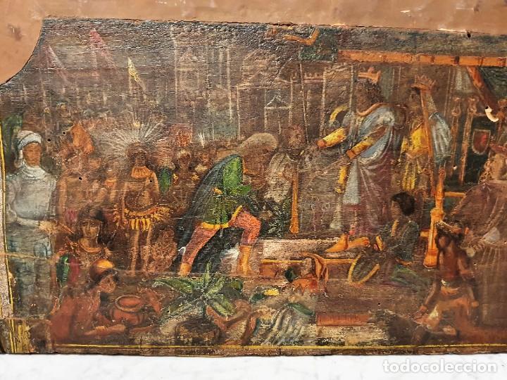 Arte: ANTIGUOS OLEOS SOBRE TABLA SOBRE LA CONQUISTA DE AMERICA - Foto 3 - 231576195