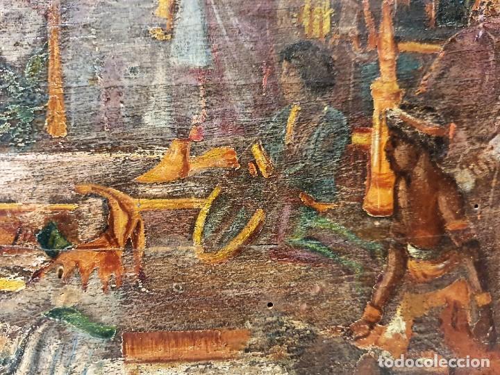 Arte: ANTIGUOS OLEOS SOBRE TABLA SOBRE LA CONQUISTA DE AMERICA - Foto 4 - 231576195