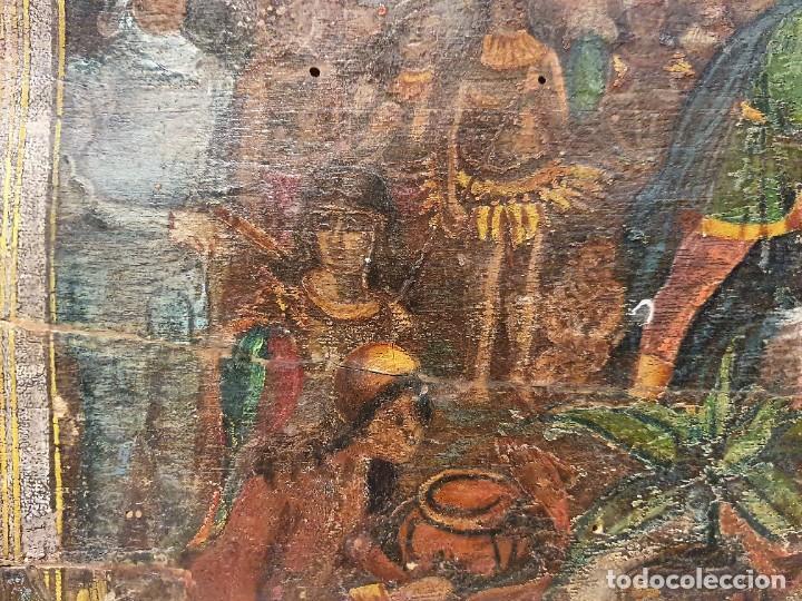 Arte: ANTIGUOS OLEOS SOBRE TABLA SOBRE LA CONQUISTA DE AMERICA - Foto 5 - 231576195