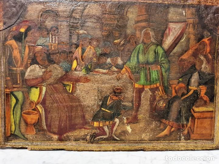 Arte: ANTIGUOS OLEOS SOBRE TABLA SOBRE LA CONQUISTA DE AMERICA - Foto 8 - 231576195