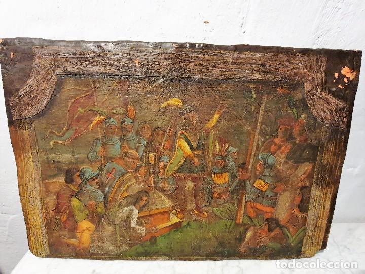 Arte: ANTIGUOS OLEOS SOBRE TABLA SOBRE LA CONQUISTA DE AMERICA - Foto 11 - 231576195