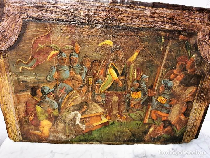 Arte: ANTIGUOS OLEOS SOBRE TABLA SOBRE LA CONQUISTA DE AMERICA - Foto 12 - 231576195