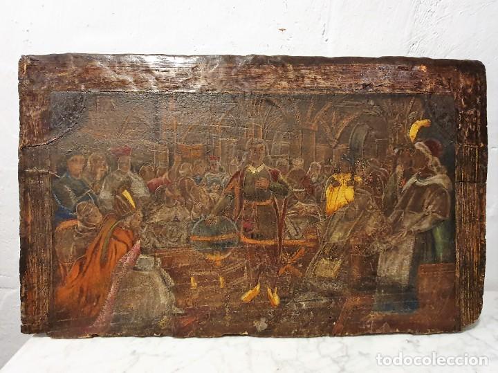 Arte: ANTIGUOS OLEOS SOBRE TABLA SOBRE LA CONQUISTA DE AMERICA - Foto 13 - 231576195
