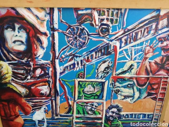 OLEO EN MADERA DE ARTE URBANO.. COMPRADO EN EXPOSICIÓN. ARTE URBANO DE NEW YORK.. 2017..IMPRESIÓNIS (Arte - Pintura - Pintura al Óleo Moderna sin fecha definida)