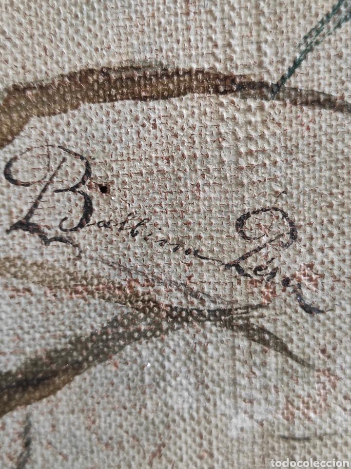 Arte: Escuela española siglo XIX, oleo sobre lienzo. Aves y plantas. 70x41cm Firmado. - Foto 14 - 231640870