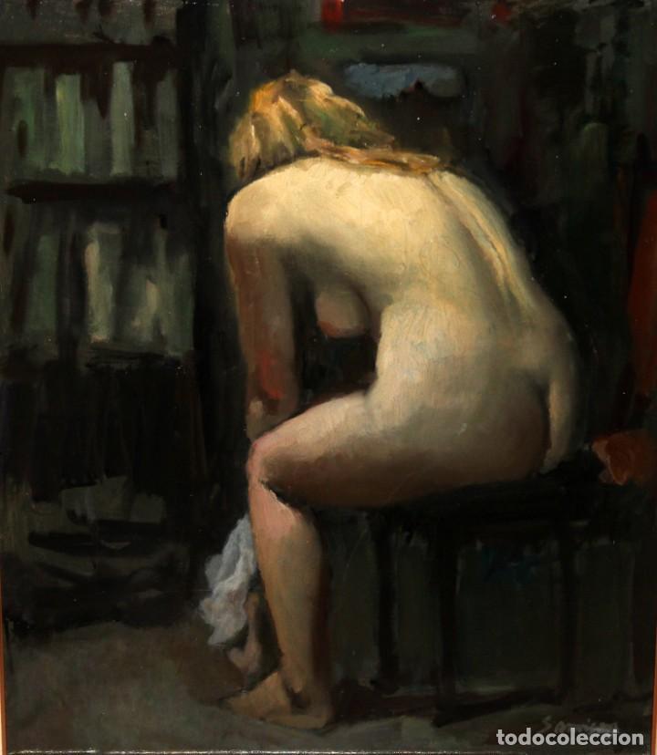 RAMÓN SANVISENS I MARFULL (BARCELONA, 1917-1987) OLEO SOBRE TELA. DESNUDO FEMENINO (Arte - Pintura - Pintura al Óleo Contemporánea )