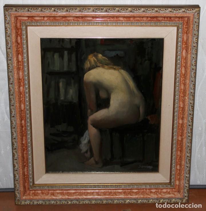 Arte: RAMÓN SANVISENS I MARFULL (Barcelona, 1917-1987) OLEO SOBRE TELA. DESNUDO FEMENINO - Foto 2 - 231743020