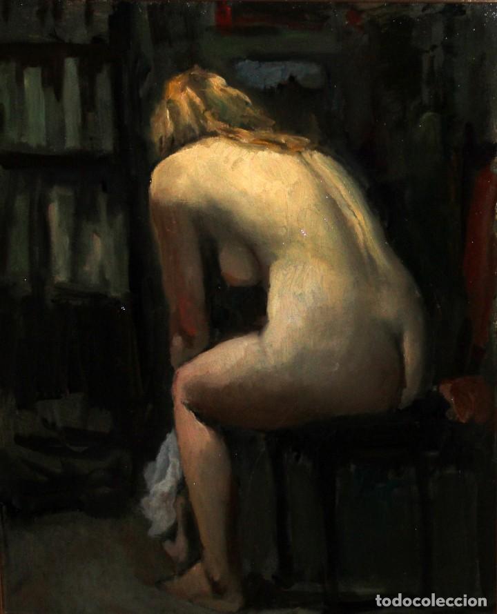 Arte: RAMÓN SANVISENS I MARFULL (Barcelona, 1917-1987) OLEO SOBRE TELA. DESNUDO FEMENINO - Foto 4 - 231743020