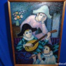 Arte: EXCELENTE ÓLEO DE ANGELINA LAVERNIA 1973.NIÑOS MÚSICOS.. Lote 231758975
