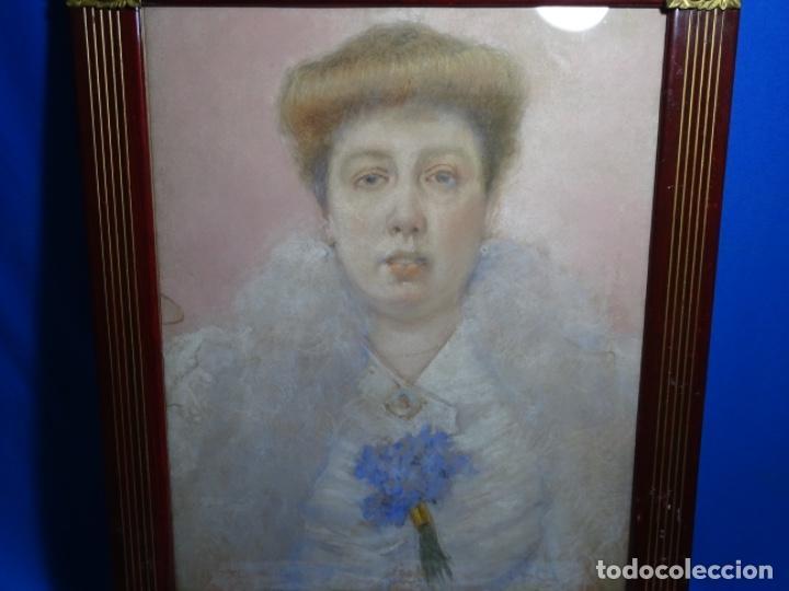PASTEL MODERNISTA EN MARCO DE ÉPOCA.AÑOS 20.FIRMA ILEGIBLE. (Arte - Pintura - Pintura al Óleo Contemporánea )