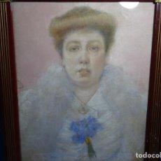 Arte: PASTEL MODERNISTA EN MARCO DE ÉPOCA.AÑOS 20.FIRMA ILEGIBLE.. Lote 231768210