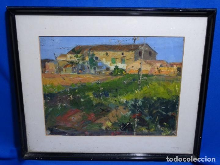 Arte: ÓLEO ANONIMO SOBRE TELA CIRCULO JOAQUIN MIR.GRAN COLORIDO Y BUEN TRAZO. - Foto 2 - 231779275
