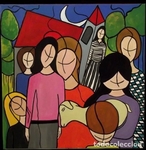SALIDA DE UN ACTO MIXTA SOBRE LIENZO DE 60X60 ENMARCADO (Arte - Pintura - Pintura al Óleo Contemporánea )