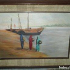 Arte: ANTIGUA PINTURA OLEO MAR Y PERSONAJES EN PLAYA FIRMADO BANGLADEST. Lote 231966700