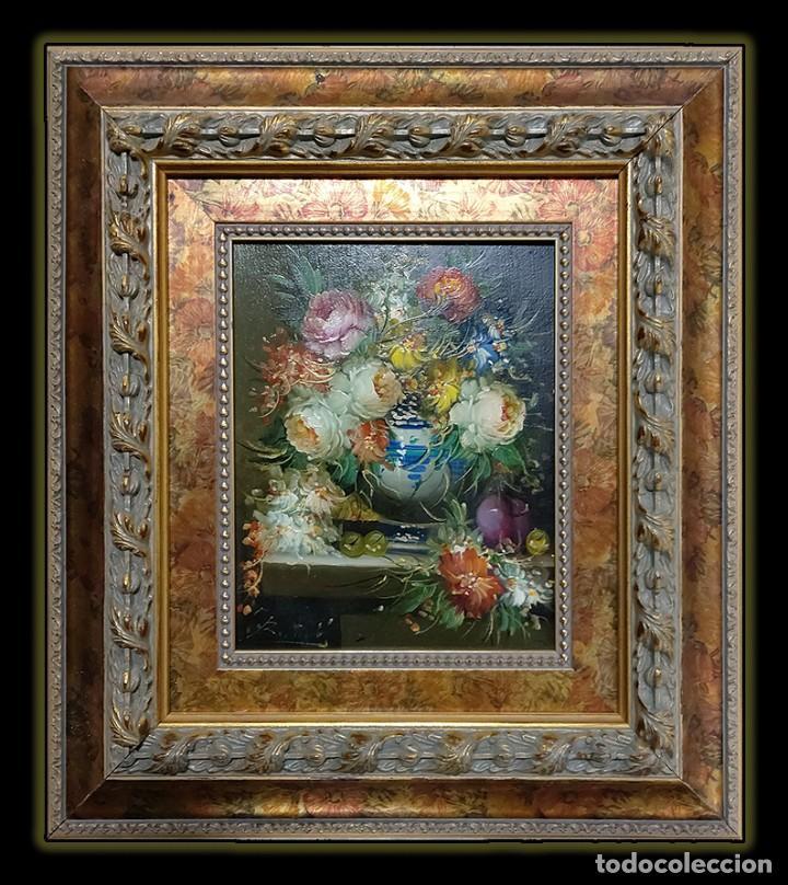 ARTE: ÓLEO SOBRE LIENZO: PRECIOSO BODEGÓN DE FLORES (R. MICHEL) (Arte - Pintura - Pintura al Óleo Contemporánea )