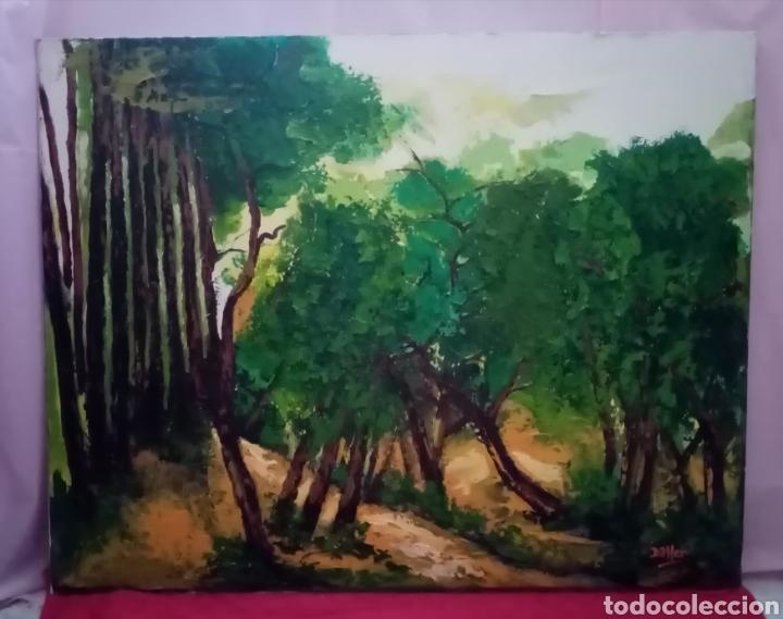 Arte: Magnífico Óleo sobre lienzo. Bosque asimétrico Con predominio de tonos verdes y marrones encendidos - Foto 3 - 232135155