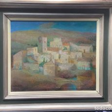 Arte: OLEO LIENZO ARTISTA SANTOS DIAZ VISTA DE PUEBLO CASTILLA 76X87CMS. Lote 232139960