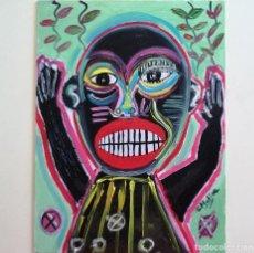 Arte: PINTURA FIGURATIVA, ARTE BRUTO, TRIBAL, FIRMADO.. Lote 232170665